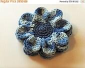 Christmas In July Sale Flower Coasters - Denim Blue Variegated - Set of 4