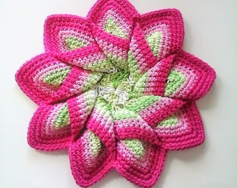 Extra Large 9 Point Star Flower Potholder Trivet Hot Pad - 100% Cotton - Pink and Lime Gradient Ombre