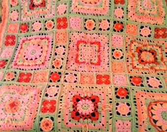 Crochet Sampler Throw - Spring Lane Throw - Flamingo Throw - Shades of Peach, Pink, and Sleet Gray - 50 inches