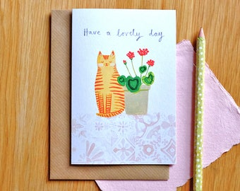Cat with Geraniums Card 'Have a Lovely Day' Illustrated Card