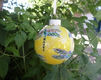 Hand painted ornament, yellow dragonfly, personalized 374