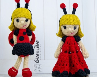 Combo Pack - June the Ladybug Girl Lovey and Amigurumi Set for 7.99 Dollars - PDF Crochet Pattern Instant Download