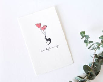 Cute Love Card Valentine - Simple Penguin Drawing with Heart Balloons - Love Lifts Me Up