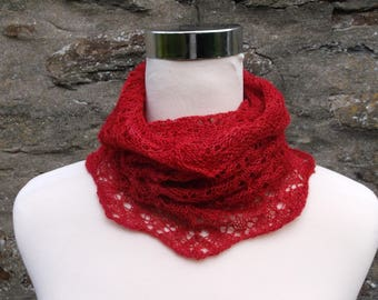 Infinity cowl / neckwarmer / snood. Hand knitted.Hand dyed  Baby Alpaca silk and cashmere. Red