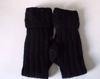 Black hand knitted kilt hose / socks with patterned top. Men or teenage boys  UK 7  US 9  EU 40