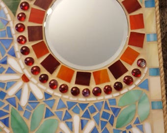 Stained glass mirror 13.5 x 17.5 in