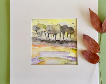Watercolour landscape, small painting, original art, watercolour on paper, abstract landscape