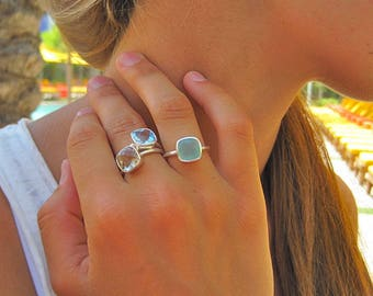 Aqua Chalcedony Square Silver Ring - Silver Ring - Stacking Ring