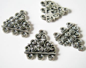 10 Triangle 3 Hole Connectors Silver Tone, 18x17mm, Jewelry Making Supplies, Connector  (1057)