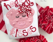 """Girls Valentine shirt or bodysuit, Pig Valentine shirt """"Hogs and Kisses"""", fun pig valentine shirt in red and pink"""