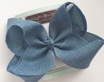 """Denim look Bow -- denim blue large 6-7"""" bow -- beautiful bow to match so many outfits"""
