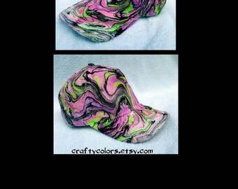 Marbled Hat Tie Dye Hat Painted Hat- 3434
