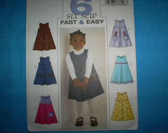 Butterick 3952 Girl's Size 1-2-3-4 Jumpers.