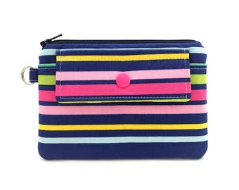 Stripe Fabric Coin Purse - Small Zipper Pouch - Snap Wallet - Change Purse - Card Pouch - Gift for her - Padded Pouch - Keychain Wallet
