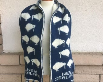 New Zealand Scarf REVERSIBLE Blue and White Kiwi Souvenir Fringed Winter Scarf