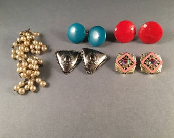 Vintage Collection of Clip on Earrings, Red Earrings, Turquoise Earrings, Silver Earrings, Gold and Pink Earrings, Pearl Dangle Earrings