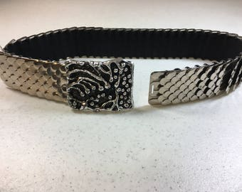 "Vintage Silver Metal Wide Belt with Antique Silver & Black Belt Buckle 2.25"" Wide Buckle Belt is 1.75"" Wide 26.25"" Long Stretches to 42"""