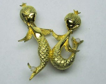 Vogue sterling pin two mermaids , gold plated , marked , little faux pearls