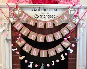 Puppy Birthday Banner - Puppy Dog 1st 3rd BIRTHDAY Decorations - Lets Pawty birthday party decor - puppy party with name-