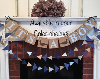 Duck Hunting baby shower decorations - Duck baby shower - Hunting it's a boy banner- woodland Duck baby shower - your color choices