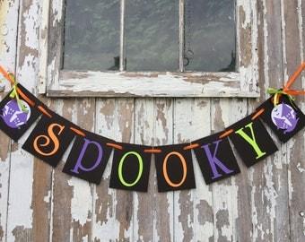 Halloween Decorations / SPOOKY Halloween banner / Halloween Party Garland  / Spooky Halloween Photo Prop / Vintage Inspired Halloween Decor