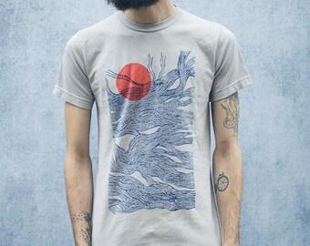 Sun and Waves Abstract Screen Printed Grey T-Shirt