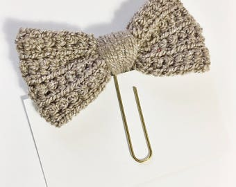 Light Brown with Silver Metallic Strands Crochet Bow Planner Clip Clippie Planner ECLP Happy Planner Filofax