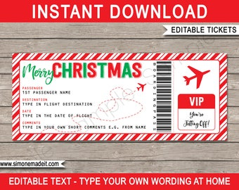 Plane ticket etsy christmas gift plane ticket surprise trip getaway holiday printable boarding pass pronofoot35fo Image collections