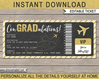 Graduation Boarding Pass Ticket - Printable Gift Plane Ticket - Surprise Flight, Trip, Holiday - INSTANT DOWNLOAD - EDITABLE text - you edit