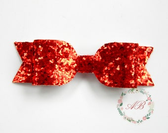 Baby Bow Hair Clip - Baby Hair Bow - Red Bow Hair Clip - Glitter Bow Clippie - Baby Bow Hair Clip - Red Glitter Hair Clip