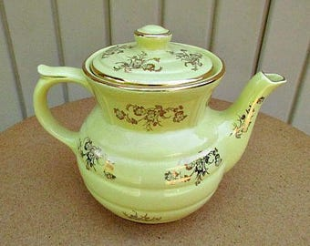 vintage 40s yellow drip-o-lator coffee pot maker gold gilt flowers made in usa