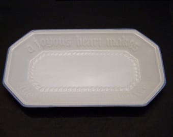 "Pfaltzgraff ""Yorktowne"" Bread Tray Serving Dish Stoneware Gray Blue"