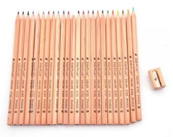 Marco Fine Drawing High Quality Colored Pencils 24 Colors and Pencil Sharpener Set