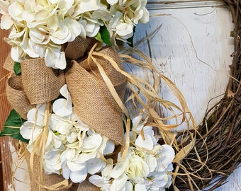 Front door Wreath, Front door wreath, hydrangea, Wedding Wreath,  Wreath Great All Year Round, Door Wreath