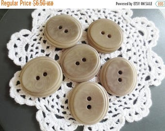 30% OFF SALE Large Taupe Buttons 29mm  2 Hole Set of 12 DIY Sewing Supplies