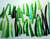 Reserve for ozana01 Kiln Formed Green Glass Mix 34 pieces (R104)