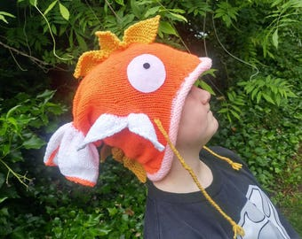 Magikarp pokemon go game inspired knit hat cosplay costume slouch handmade gamer  bright colors one size fits most