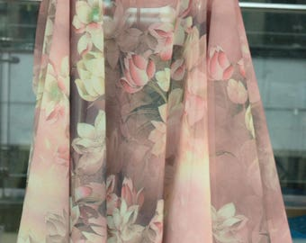 new arrival chinese folk retro  pink white lotus flower chiffon  fabric by  yard fo dress stage