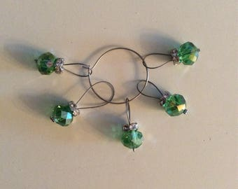 Green Beaded Knitting Stitch Markers with Accent Bead Fits US10.5 Knitting Needle