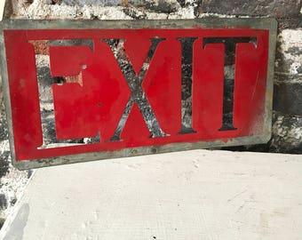 Vintage Metal Exit Sign Stencil
