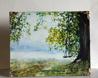 """Fall, Autumn Landscape Original, acrylic painting on 8"""" x 10"""" heavy weight watercolor paper, Framed landscape art, frosty landscape painting"""