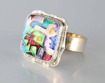 Sterling Enamel Ring, Square Coyote Ring, Southwest Abstract jewelry CR Dunetz Vintage designer