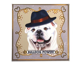 "English Bulldog Art Print on Canvas - White - English Bulldog Art - Bulldog in a Frame - 12"" x 12"""