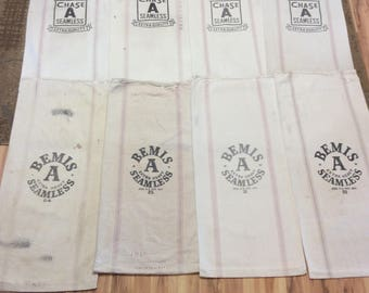 8 Pack Vintage seed sacks. 4 Chase and 4 Bemis