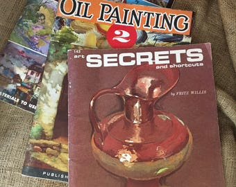 Vintage oil painting books, three oil painting books