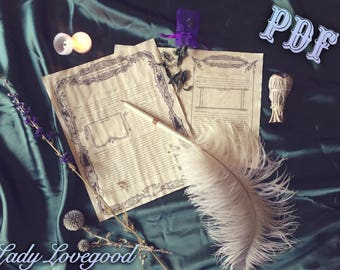 Spell Templates A5 Size - Printable PDF - Book of Shadows Pages