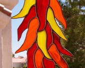 Stained Glass Sun Catcher Hot Chili Peppers   (812)