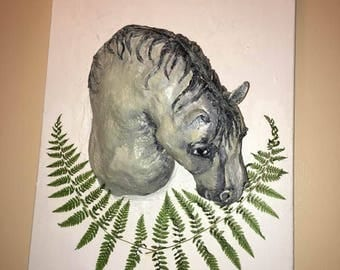Painted Pony - Statue on Canvas - Original Horse Painting - Original Horse Statue