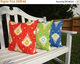 FALL Is COMING SALE Sale Outdoor Porch Pillows Red Blue Green Ikat Design  Coordinating Outdoor Pillow