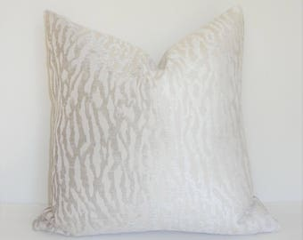 Luxurious Ivory Beige Flocked Velvet Print Pillow Cover Home Decor by HomeLiving Throw Pillow Cover Size 18x18